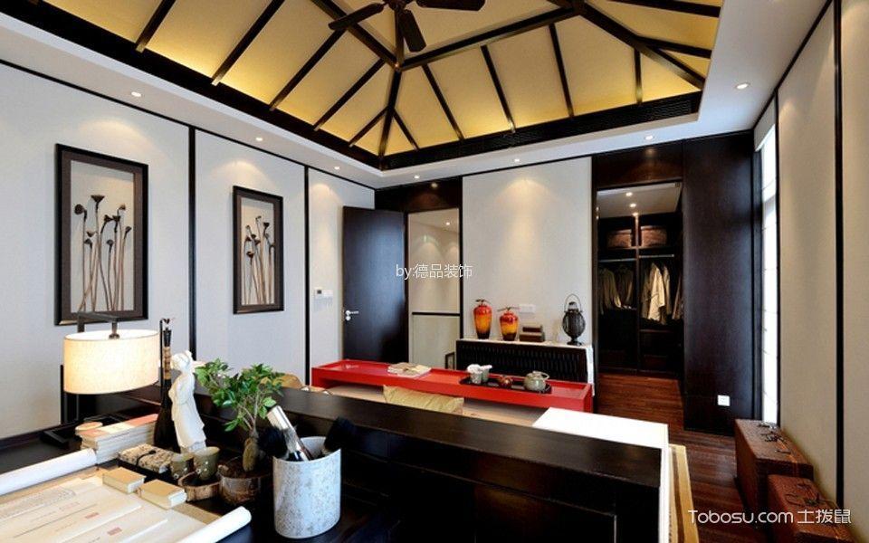 书房咖啡色书桌新中式风格装饰效果图