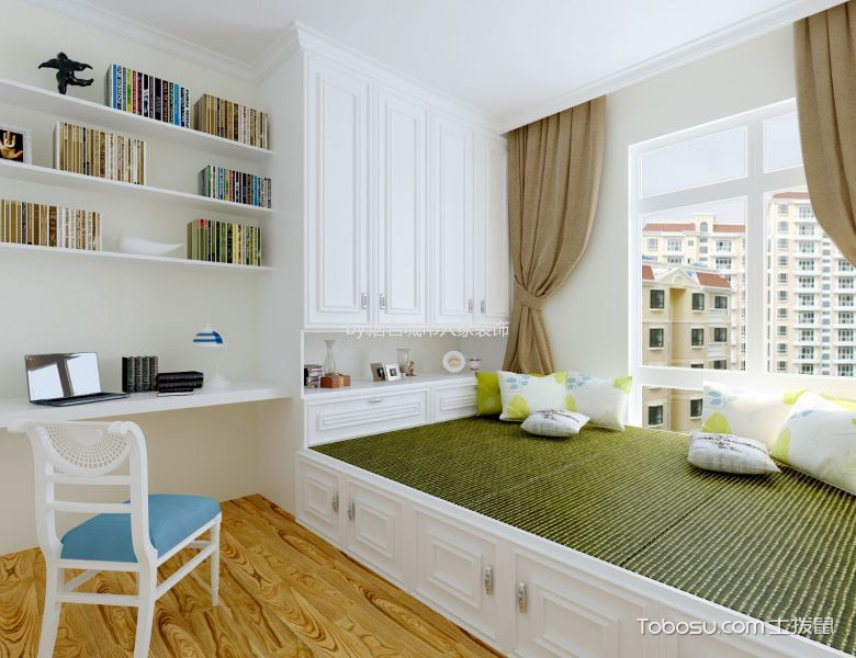 书房白色榻榻米地中海风格装修效果图