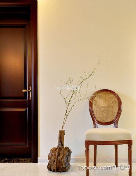 玄关黄色背景墙美式风格装潢图片