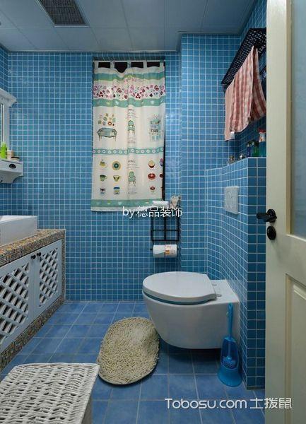 卫生间蓝色背景墙现代风格装饰效果图