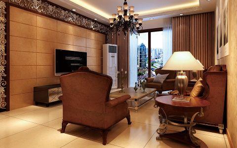 中铁国际城三室两厅美式风格装修效果图