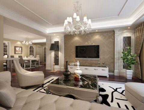 旋转效果吊顶,米黄色花纹墙纸,咖啡色窗帘、沙发,优雅时尚,清新甜腻。 一对古老花瓶,黑白相对。红木色地板,火热艳丽。宽大的液晶电视,白色的桌椅, 现代时尚。裂纹效果茶几和花纹地毯,个性十足,是一大亮点。