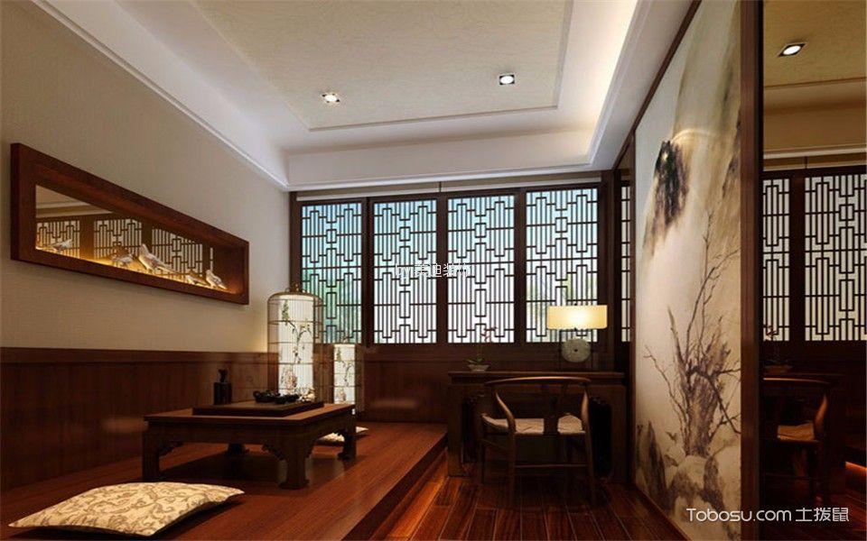 客厅咖啡色榻榻米现代风格装潢图片