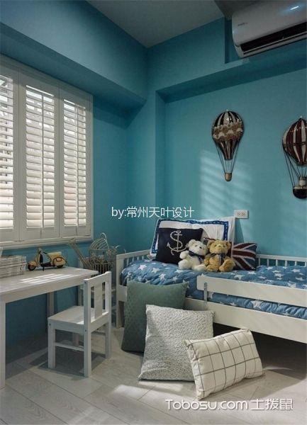 儿童房绿色背景墙地中海风格装饰设计图片