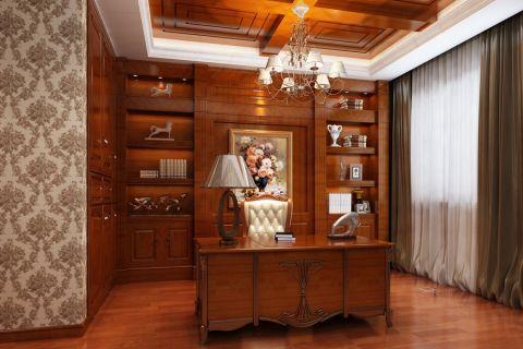 书房博古架美式风格装修设计图片