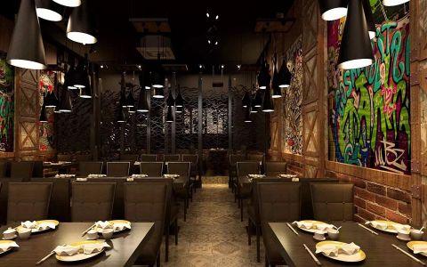 步行街销魂掌餐厅工装装饰效果图欣赏