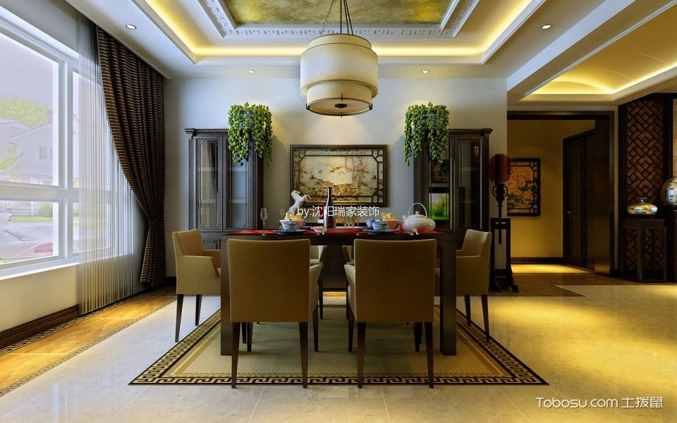 餐厅黄色地砖美式风格效果图
