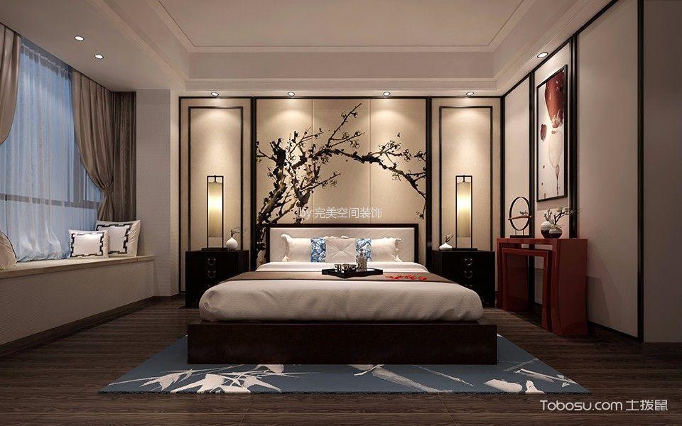卧室米色推拉门新中式风格装修图片