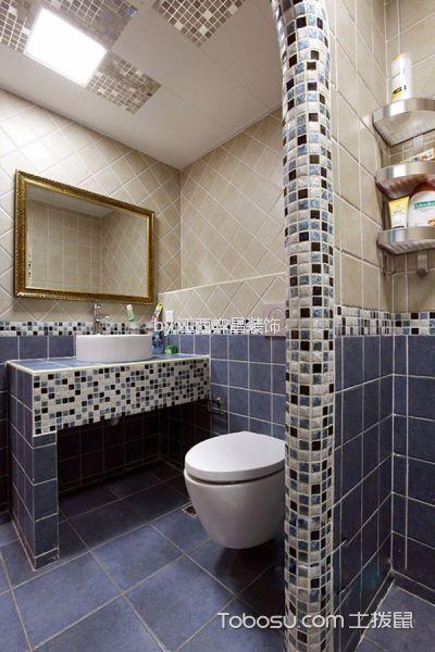 卫生间蓝色隔断混搭风格装修设计图片