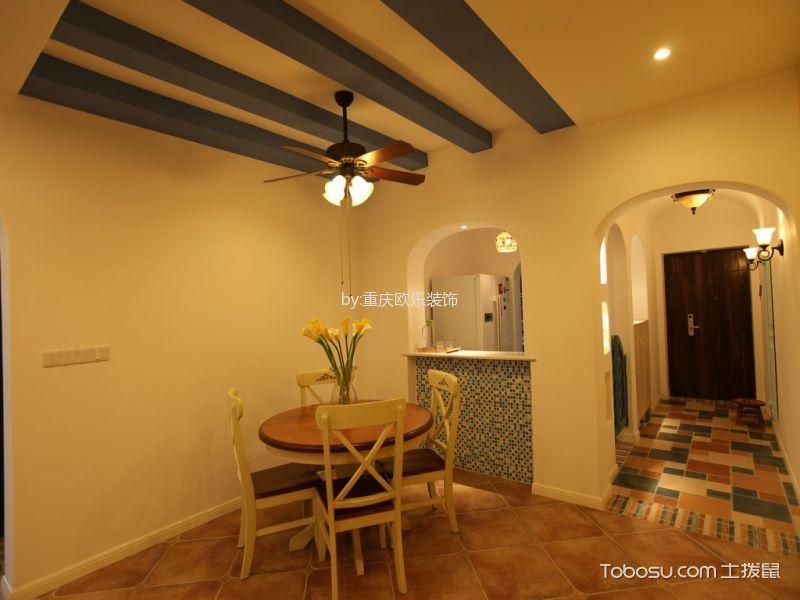 餐厅橙色地砖现代简约风格装潢效果图