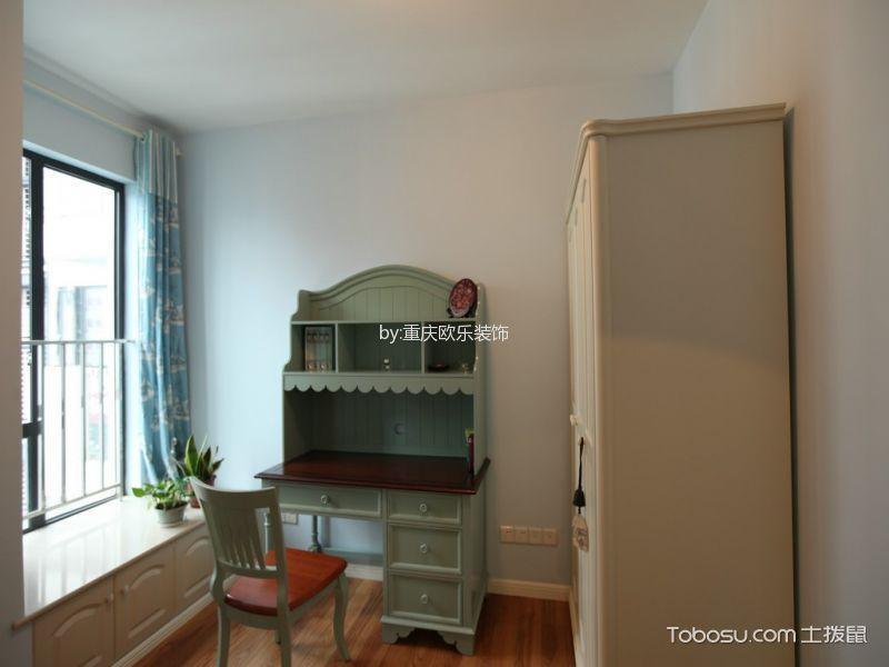 书房蓝色窗帘现代简约风格装潢设计图片