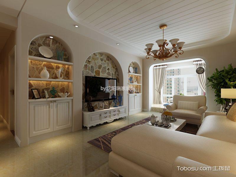 客厅白色电视柜田园风格装饰图片