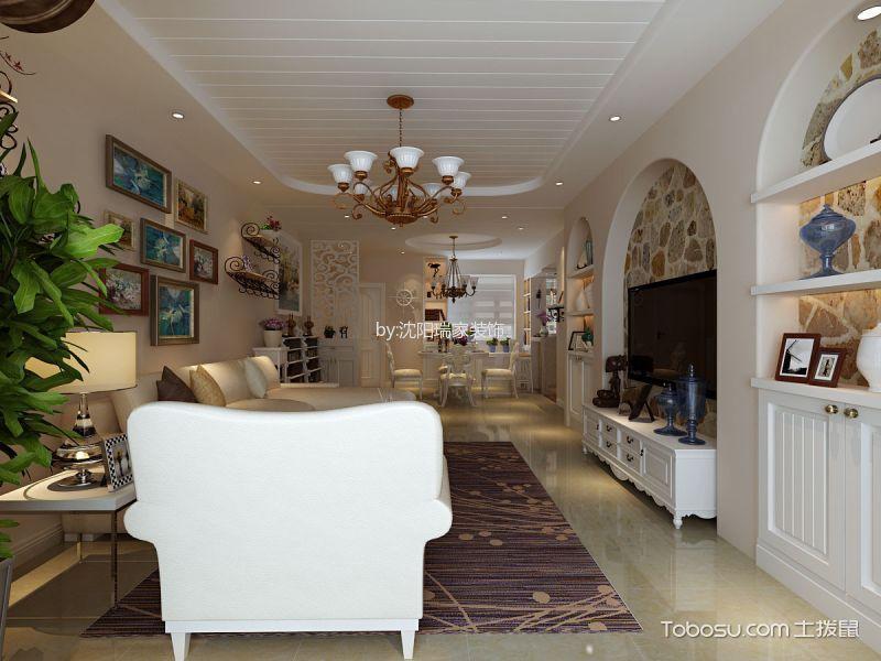 客厅白色电视柜田园风格装修设计图片