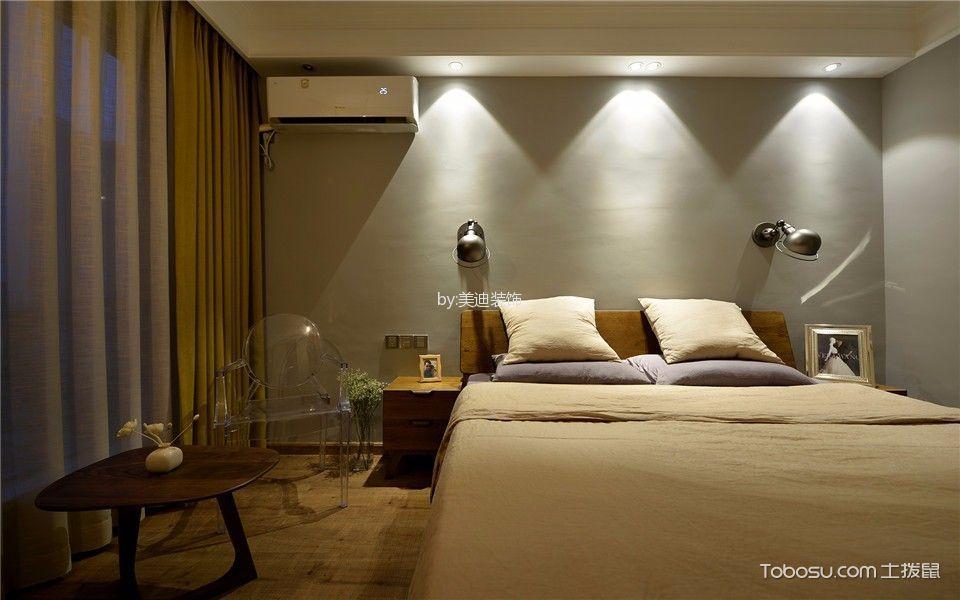 卧室黄色窗帘北欧风格装饰设计图片