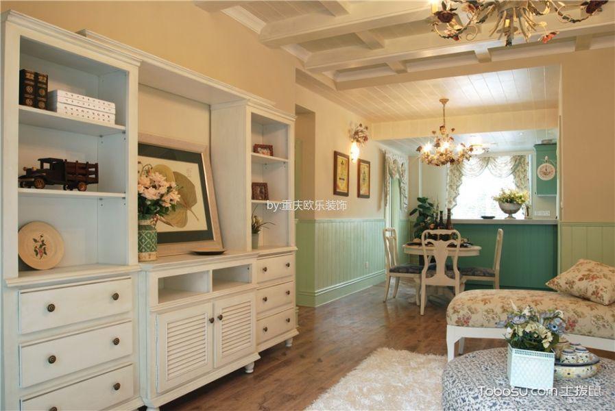 客厅白色吊顶田园风格装饰设计图片