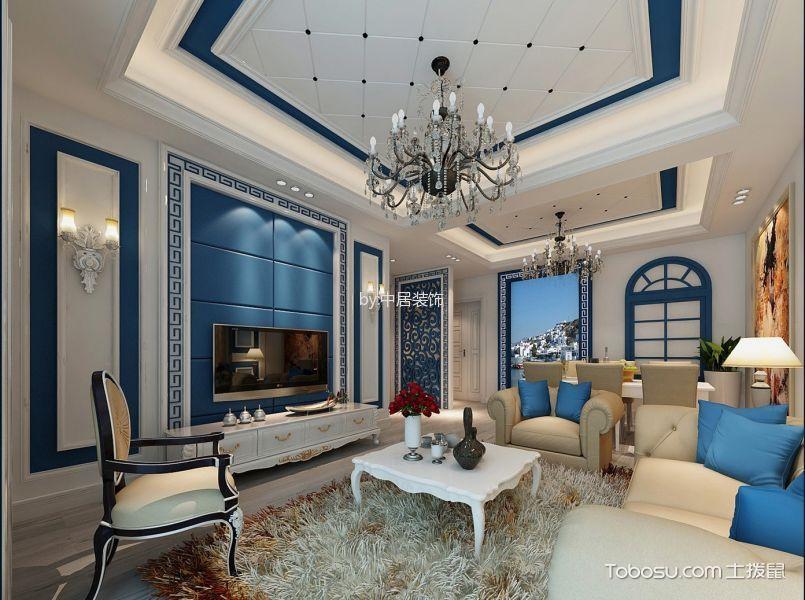 舒适地中海蓝色背景墙装饰图片