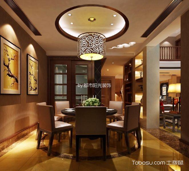 餐厅黄色地砖中式风格装潢图片