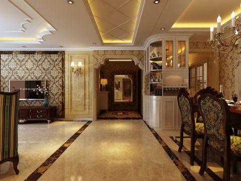 在配饰上,金黄色和棕色的配饰衬托出古典家具的高贵与优雅,赋予古典美感的窗帘和地毯、造型古朴的吊灯使整个空间看起来赋予韵律感且大方典雅,柔和的浅色花艺为整个空间带来了柔美的气质,给人以开放、宽容的非凡气度,让人丝毫不显局促。