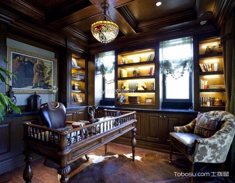 书房咖啡色吊顶混搭风格效果图