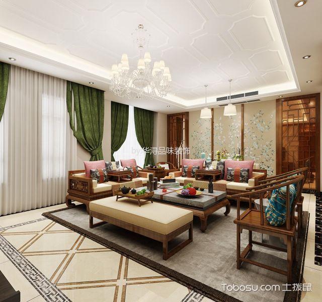 客厅绿色窗帘新中式风格效果图