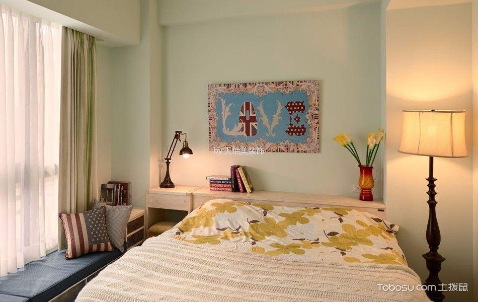 卧室绿色窗帘田园风格效果图