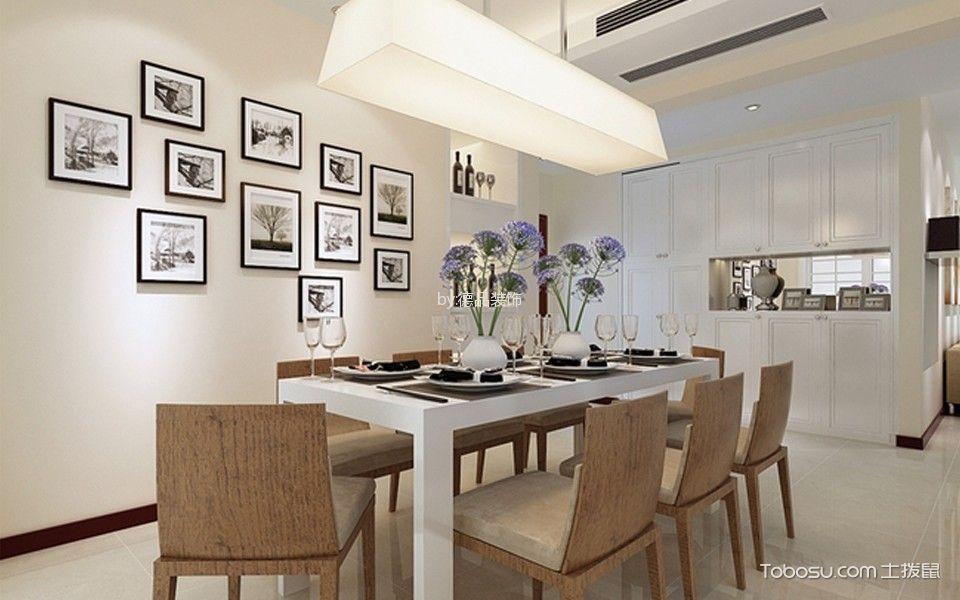 餐厅白色照片墙现代风格装饰图片