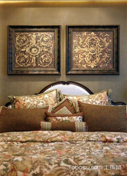 卧室黄色照片墙美式风格装修图片