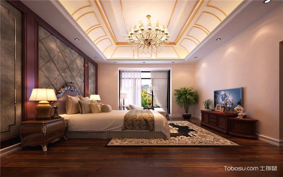 卧室咖啡色电视柜美式风格装潢设计图片