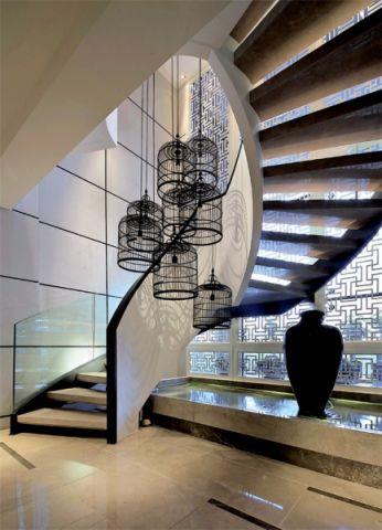 客厅楼梯中式风格装饰图片