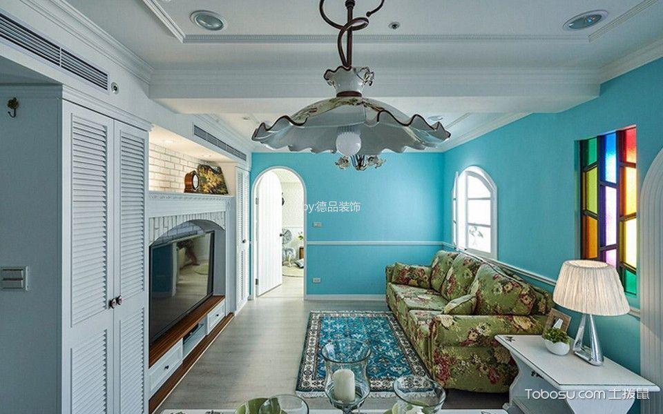 客厅白色吊顶田园风格装修效果图