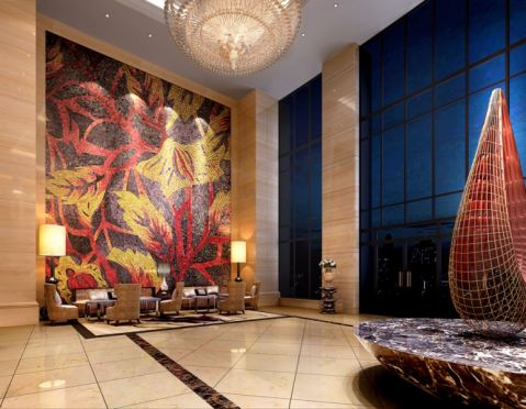 河源龙源度假温泉酒店现代简约大堂套房工装u乐娱乐平台设计案例