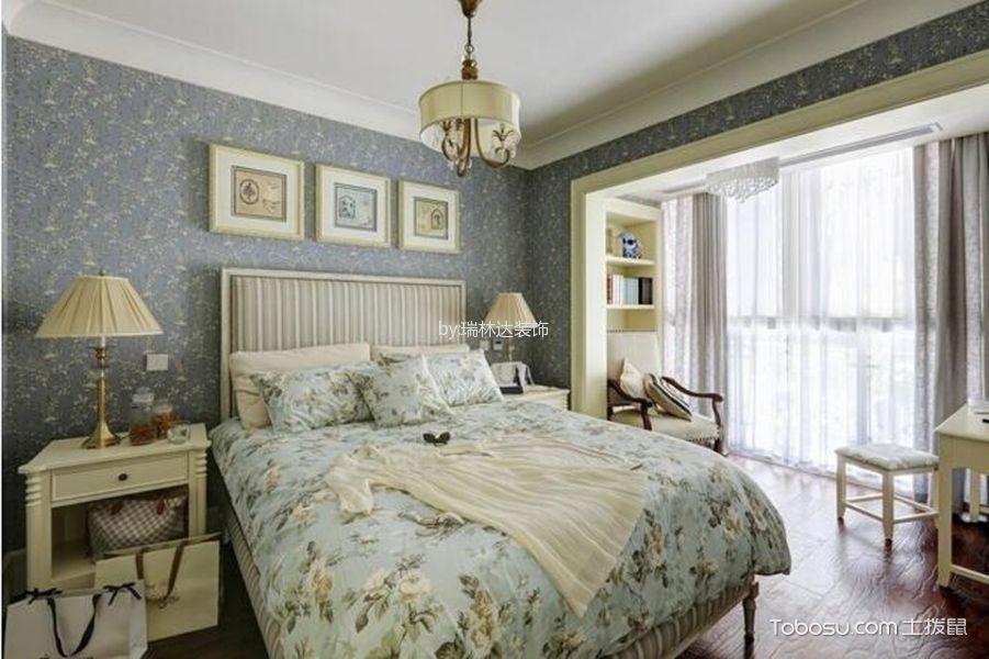 卧室蓝色照片墙美式风格装修效果图