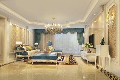 客厅背景墙法式风格装潢图片