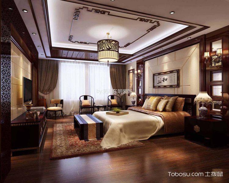 卧室 吊顶_柏庄春暖花开中式装修案例效果图