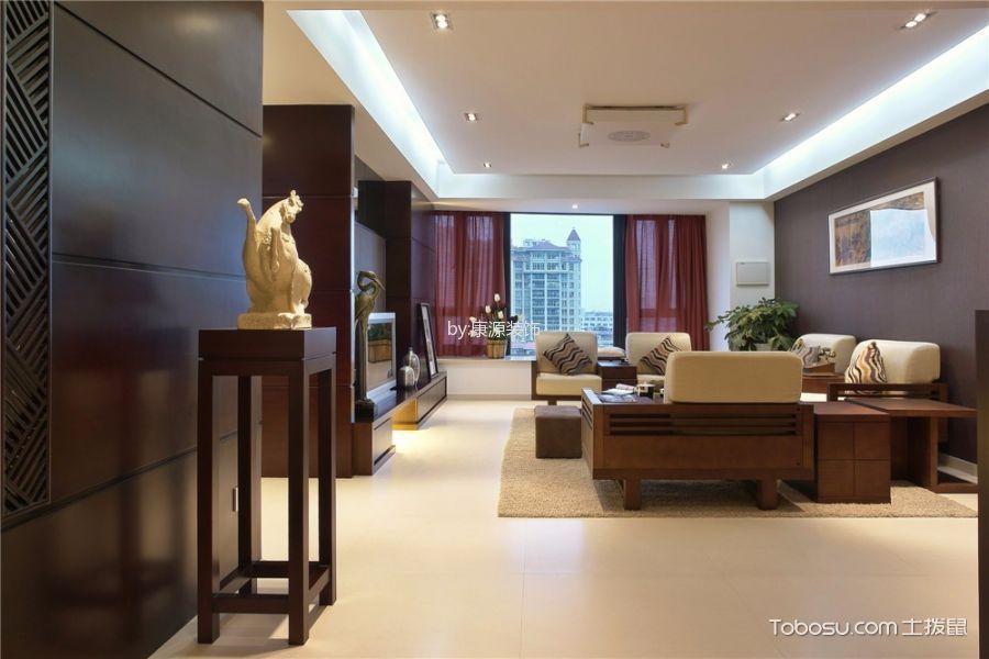 客厅红色窗帘新中式风格装潢效果图
