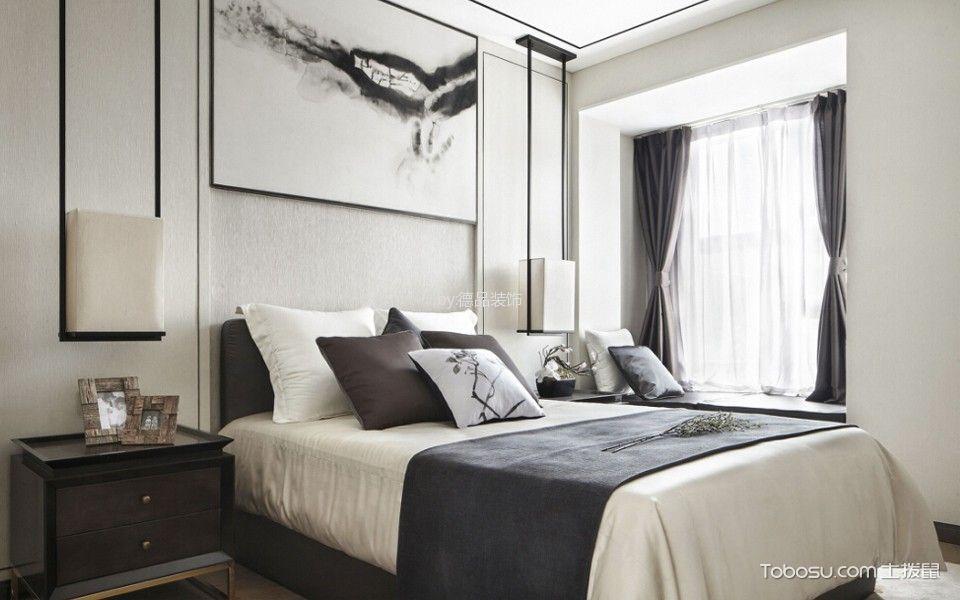 卧室灰色飘窗新中式风格装饰设计图片