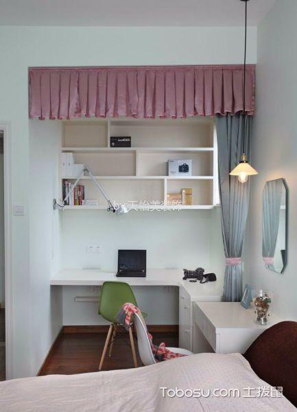 儿童房白色书桌简约风格装潢效果图