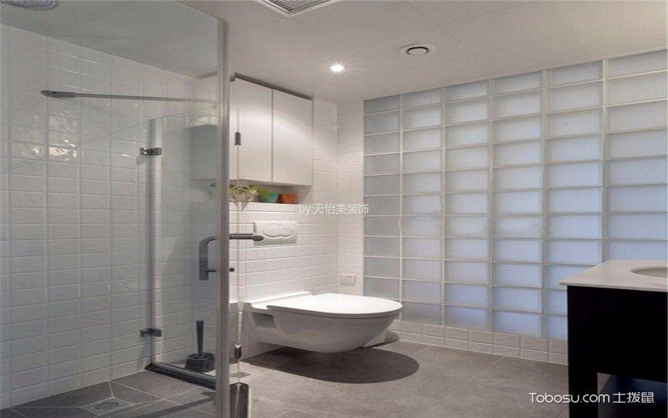 卫生间灰色地砖混搭风格装饰图片