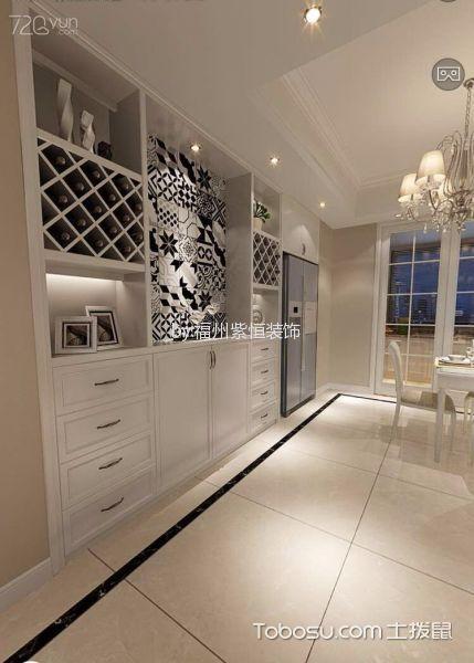 餐厅白色地砖现代简约风格装潢图片