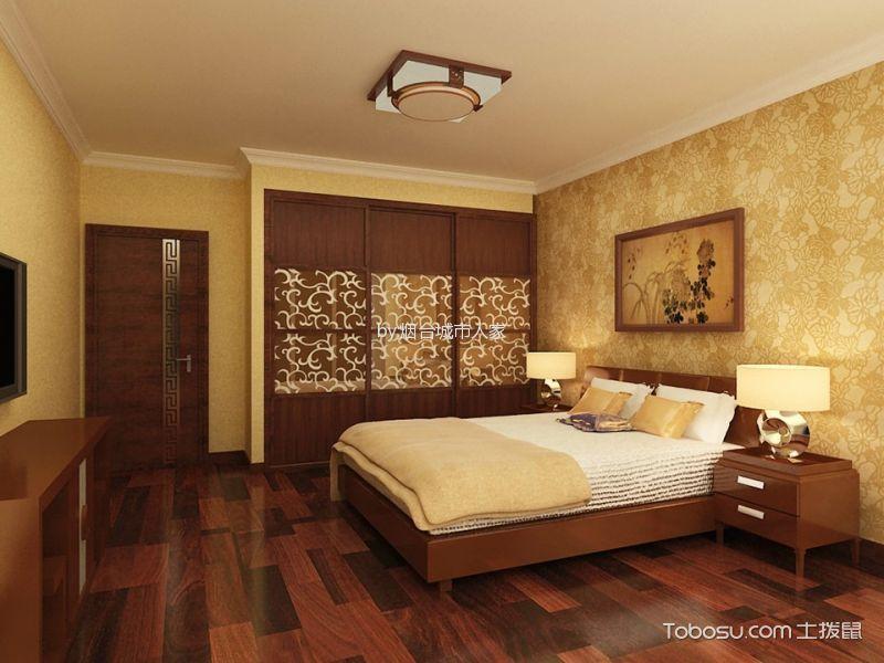 卧室红色推拉门新中式风格装修效果图