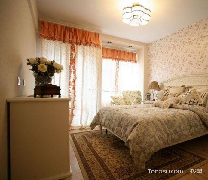 卧室彩色窗帘田园风格装饰设计图片