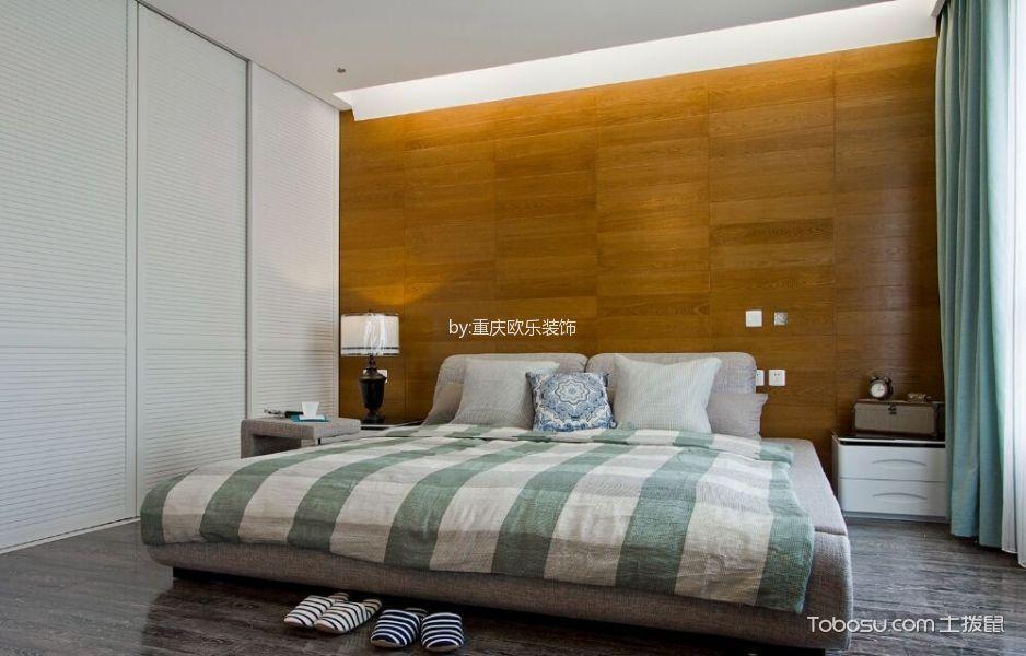 卧室绿色窗帘日式风格装潢效果图