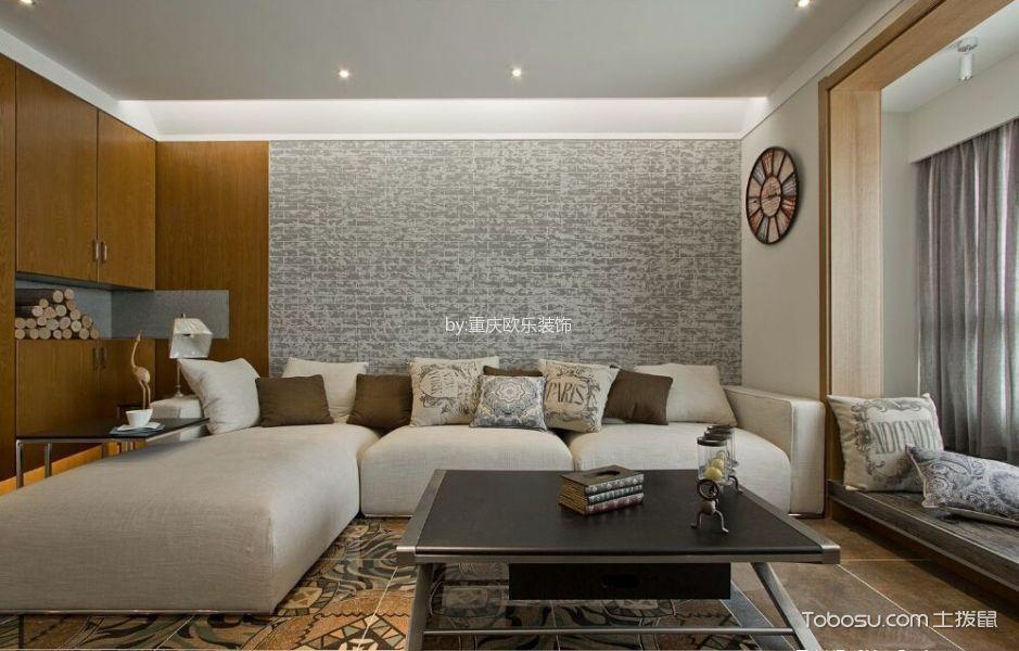 客厅灰色沙发日式风格装修设计图片