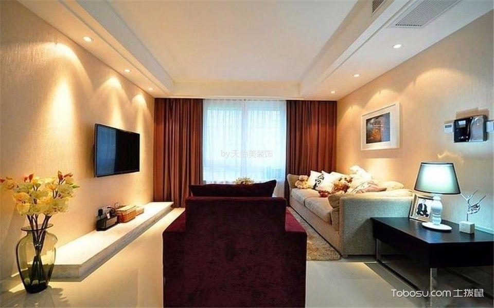 客厅红色窗帘后现代风格装饰设计图片