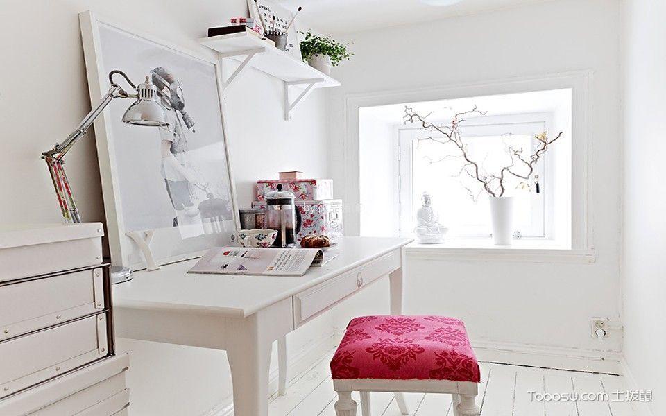 书房白色书桌北欧风格装潢设计图片