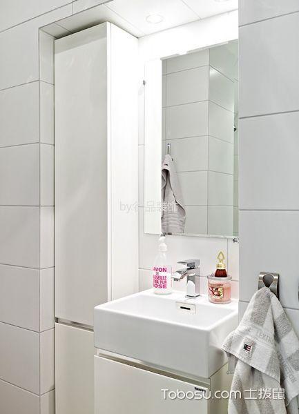 卫生间白色洗漱台北欧风格装修效果图