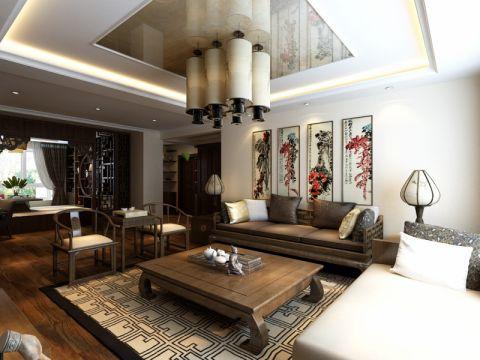 客厅背景墙中式风格装修图片