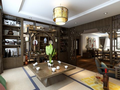 客厅博古架中式风格装修设计图片