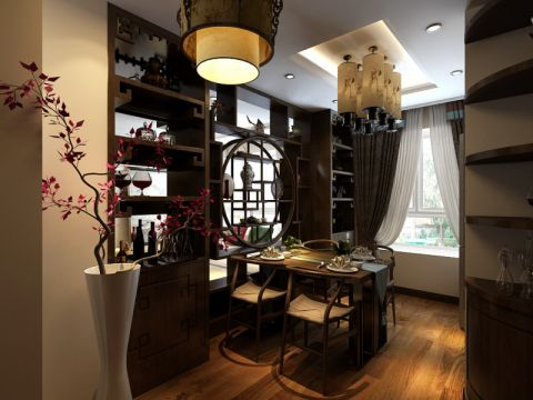 餐厅博古架中式风格装饰设计图片