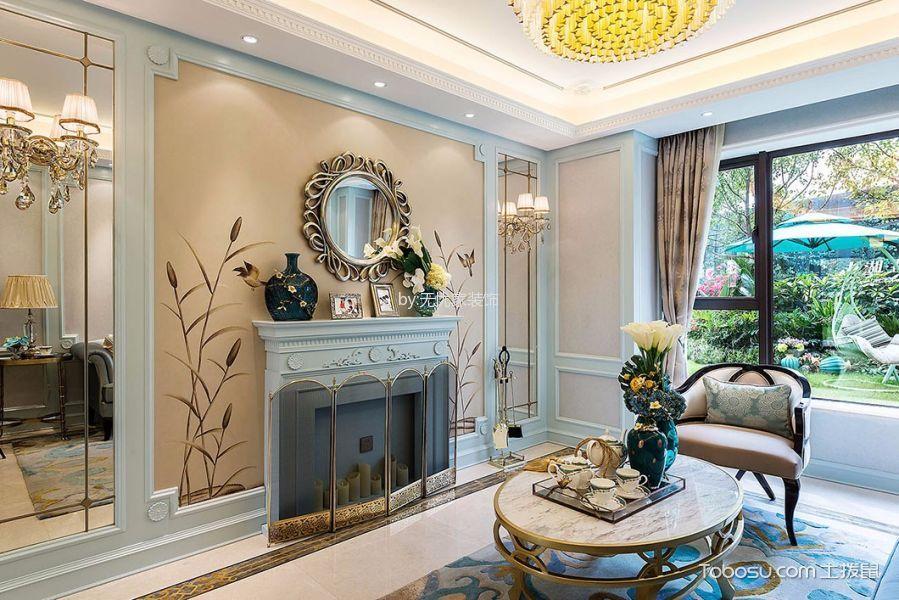 客厅白色茶几法式风格装修效果图